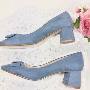Zara Basic Blue Bow Block Heel Womens 40